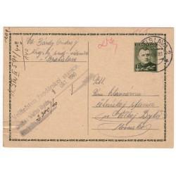 30. IX. 1940 CDV 8 - Jozef Tiso, Veliteľstvo žandárskej stanice Veľká Bytča, celina, jednoduchý poštový lístok