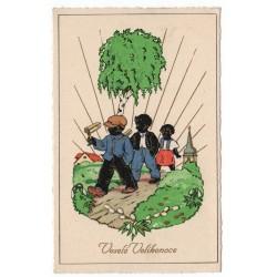 Veselé Velikonoce, traja vinšovači, kolorovaná pohľadnica, Československo