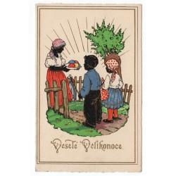 Veselé Velikonoce, chlapček a dievčatko na šibačke, kolorovaná pohľadnica, Československo