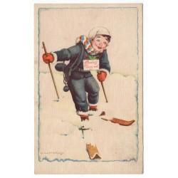 1931 - Šťastný Nový rok, chlapec na lyžiach, C. Kotyšan, pohľadnica, Československo