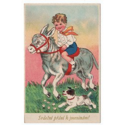 Chlapček na somárikovi so psíkom, Srdečné přání k jmeninám!, pohľadnica, Československo