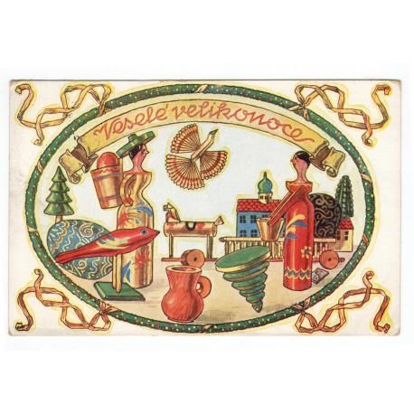Veselé velikonoce, Písek 1932, J. Čejka, farebná pohľadnica, Československo