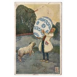 Velikonoční pozdrav!, Nové Město nad Metují 1934, farebná pohľadnica, Československo