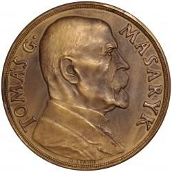 T. G. Masaryk na pamět 85. narozenin, 1935, 60 mm, O. Španiel, AE medaila