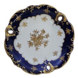 Stredný tanierik, kobalt so zlátením, Wallendorf, Nemecko