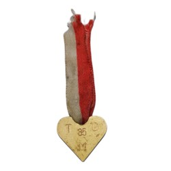 TGM 85, bronzové srdiečko s bieločervenou stužkou, 1935, 85. narodeniny T. G. Masaryka, Československo