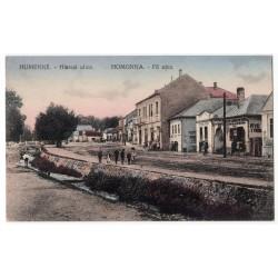 Humenné (Homonna) - Hlavná ulica (Fő utca), kolorovaná pohľadnica, Československo
