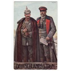Deutshlands Stolz!, Wilhelm II., Hindenburg, farebná pohľadnica, Nemecko