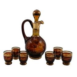 Medovo - červená karafa a 6 pohárikov, Egermann, ručne brúsené sklo, Česká republika