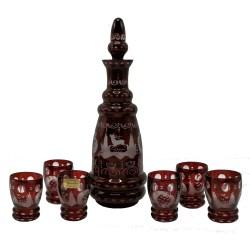 Červená karafa a 6 pohárikov, Egermann, ručne brúsené sklo, Česká republika