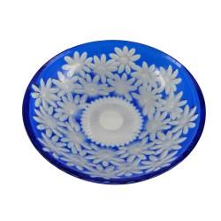 Modrá krištáľová misa, ručne brúsené sklo do tvarov kvetín, Československo