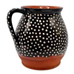 Džbán (šiňak) na mlieko s bielymi bodkami, Pozdišovská keramika, Československo