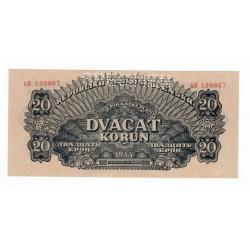 20 K 1944, AH, vodorovná podtlač, bankovka, Československo, UNC